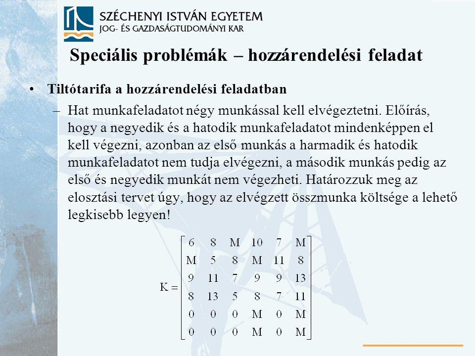 Speciális problémák – hozzárendelési feladat Tiltótarifa a hozzárendelési feladatban –Hat munkafeladatot négy munkással kell elvégeztetni. Előírás, ho