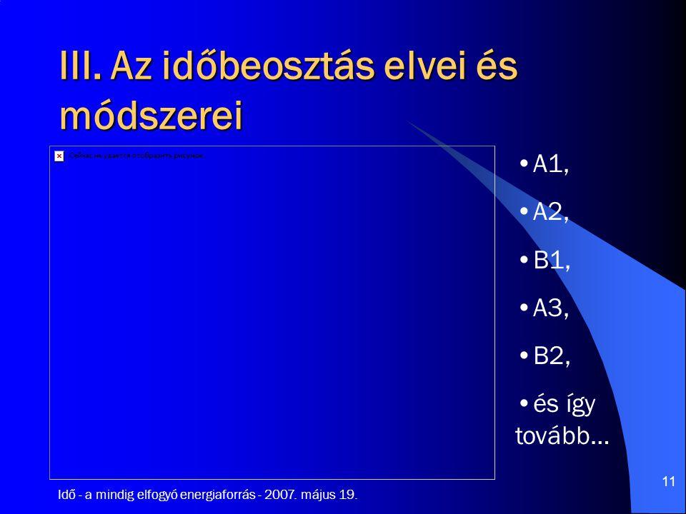 Idő - a mindig elfogyó energiaforrás - 2007. május 19. 11 III. Az időbeosztás elvei és módszerei A1, A2, B1, A3, B2, és így tovább…