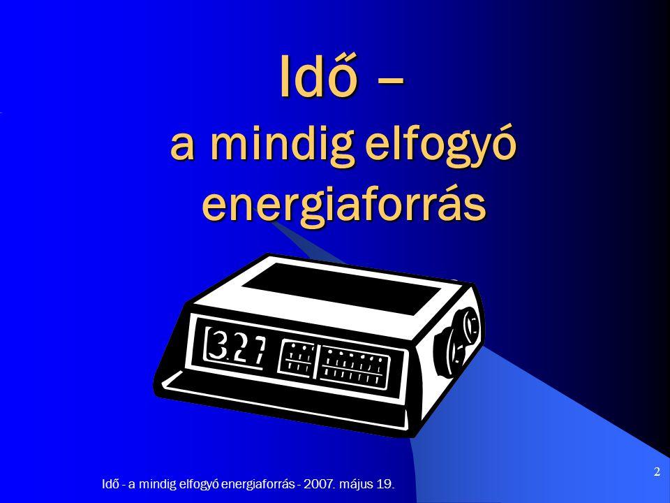 Idő - a mindig elfogyó energiaforrás - 2007.május 19.