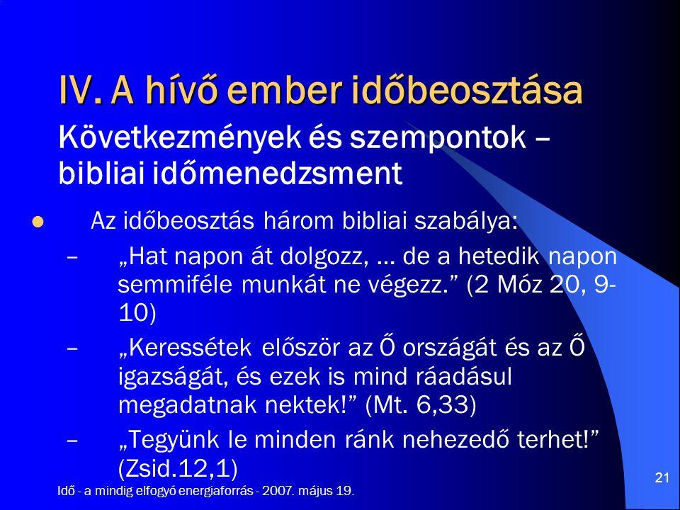 """Idő - a mindig elfogyó energiaforrás - 2007. május 19. 21 IV. A hívő ember időbeosztása Az időbeosztás három bibliai szabálya: –""""Hat napon át dolgozz,"""
