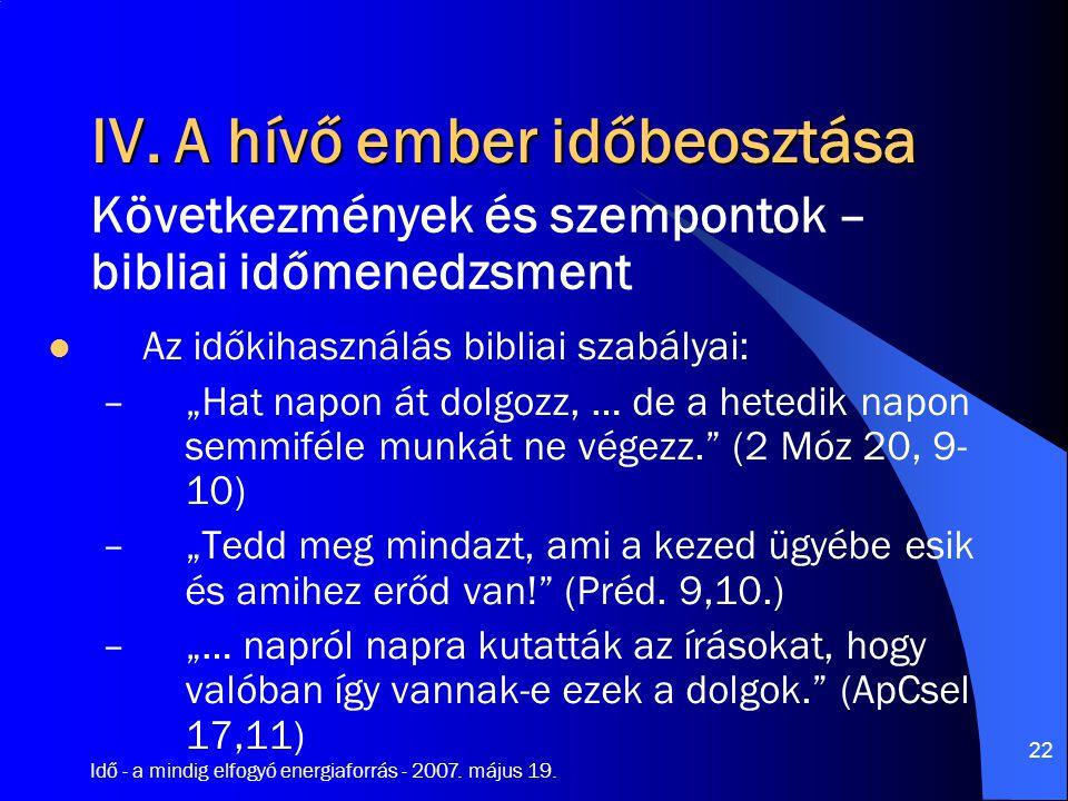 """Idő - a mindig elfogyó energiaforrás - 2007. május 19. 22 IV. A hívő ember időbeosztása Az időkihasználás bibliai szabályai: –""""Hat napon át dolgozz, …"""