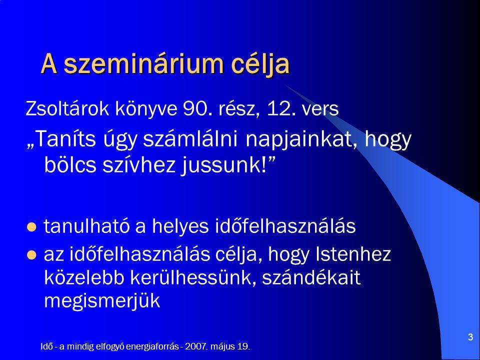 Idő - a mindig elfogyó energiaforrás - 2007. május 19. 24 kezdet vég jövő jelen múlt 1000 év 1 nap