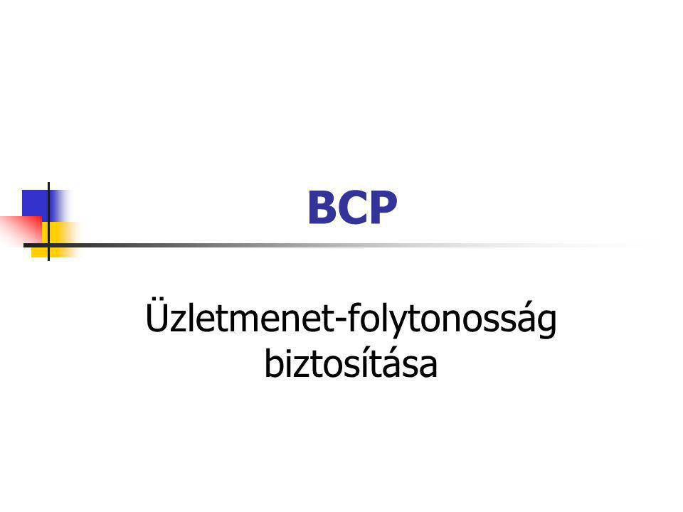 Témakörök Az üzleti tevékenység fenyegetettsége Üzletmenet-folytonosság biztosítása Tervezési módszertanok BCP projekttervek kivitelezése Informatikai rendszerek biztonsága