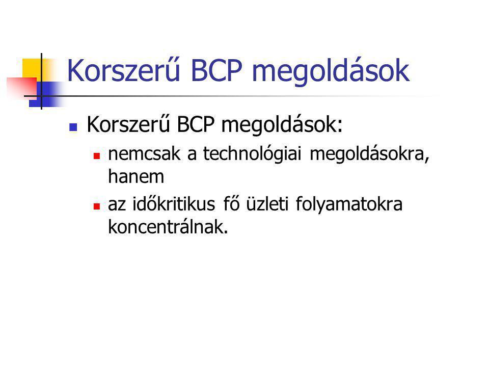 Korszerű BCP megoldások Korszerű BCP megoldások: nemcsak a technológiai megoldásokra, hanem az időkritikus fő üzleti folyamatokra koncentrálnak.