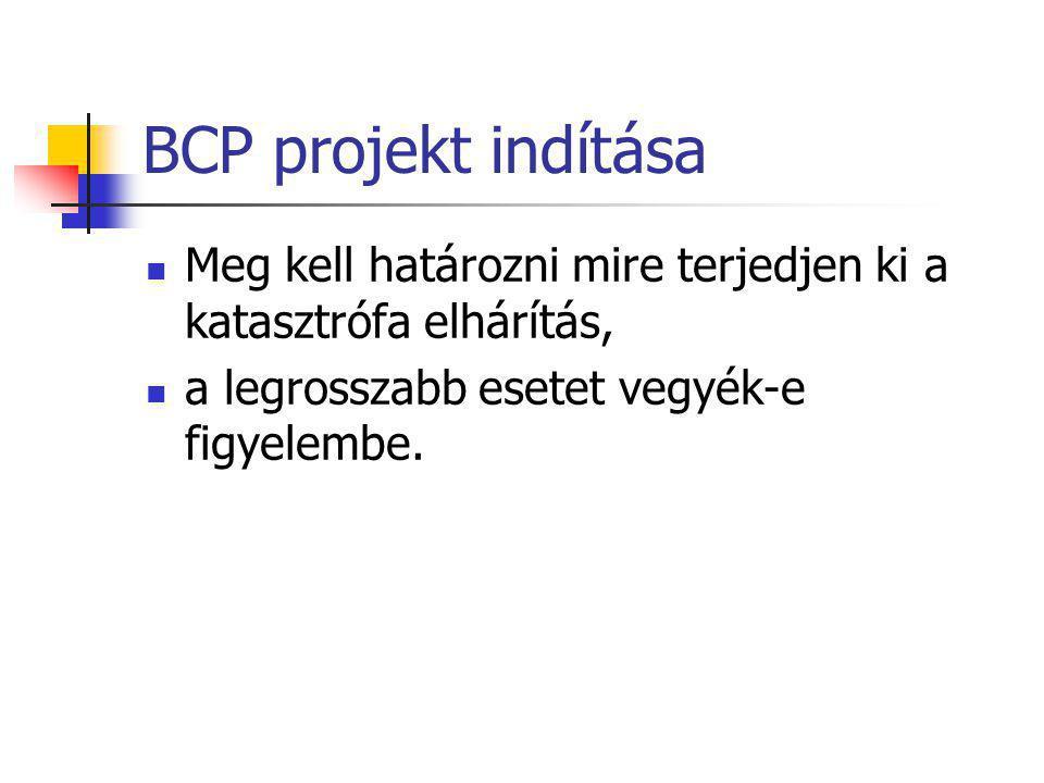 BCP projekt indítása Meg kell határozni mire terjedjen ki a katasztrófa elhárítás, a legrosszabb esetet vegyék-e figyelembe.