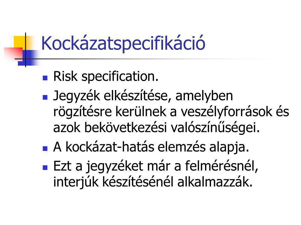 Kockázatspecifikáció Risk specification. Jegyzék elkészítése, amelyben rögzítésre kerülnek a veszélyforrások és azok bekövetkezési valószínűségei. A k