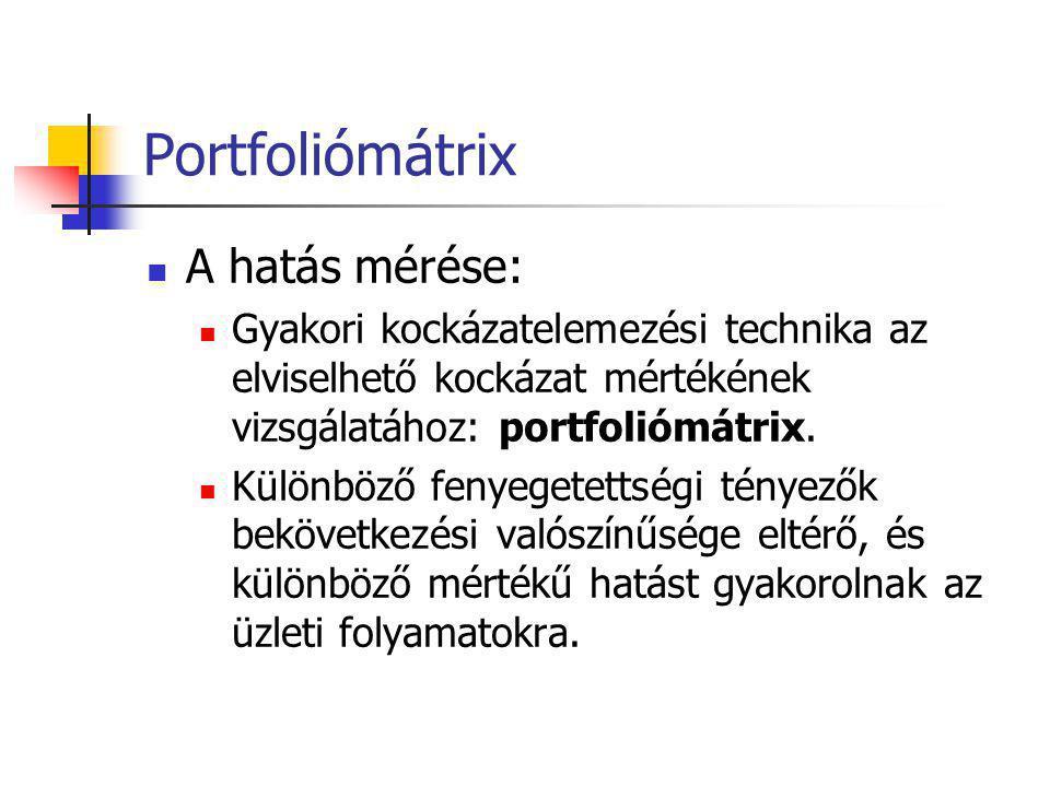 Portfoliómátrix A hatás mérése: Gyakori kockázatelemezési technika az elviselhető kockázat mértékének vizsgálatához: portfoliómátrix. Különböző fenyeg