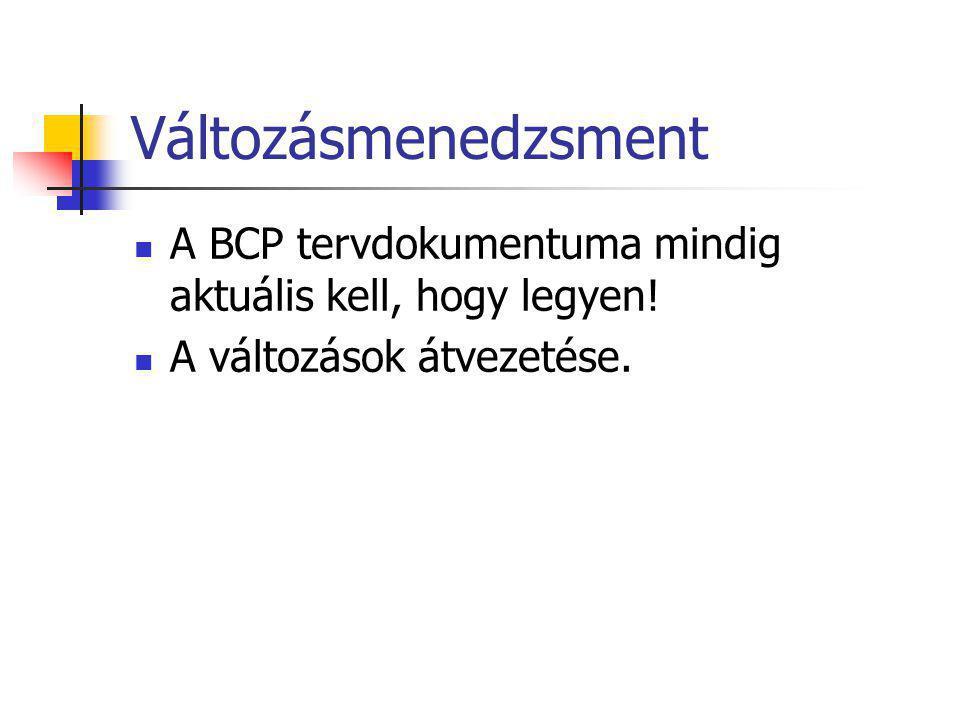 Változásmenedzsment A BCP tervdokumentuma mindig aktuális kell, hogy legyen! A változások átvezetése.
