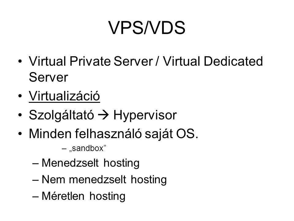 VPS/VDS Virtual Private Server / Virtual Dedicated Server Virtualizáció Szolgáltató  Hypervisor Minden felhasználó saját OS.