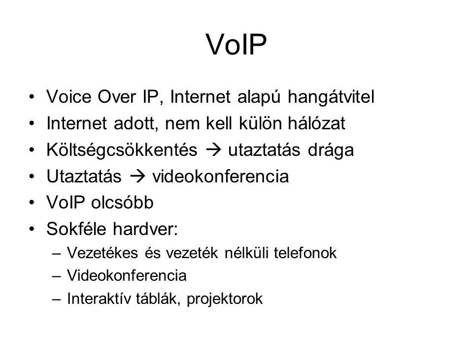 VoIP Voice Over IP, Internet alapú hangátvitel Internet adott, nem kell külön hálózat Költségcsökkentés  utaztatás drága Utaztatás  videokonferencia VoIP olcsóbb Sokféle hardver: –Vezetékes és vezeték nélküli telefonok –Videokonferencia –Interaktív táblák, projektorok