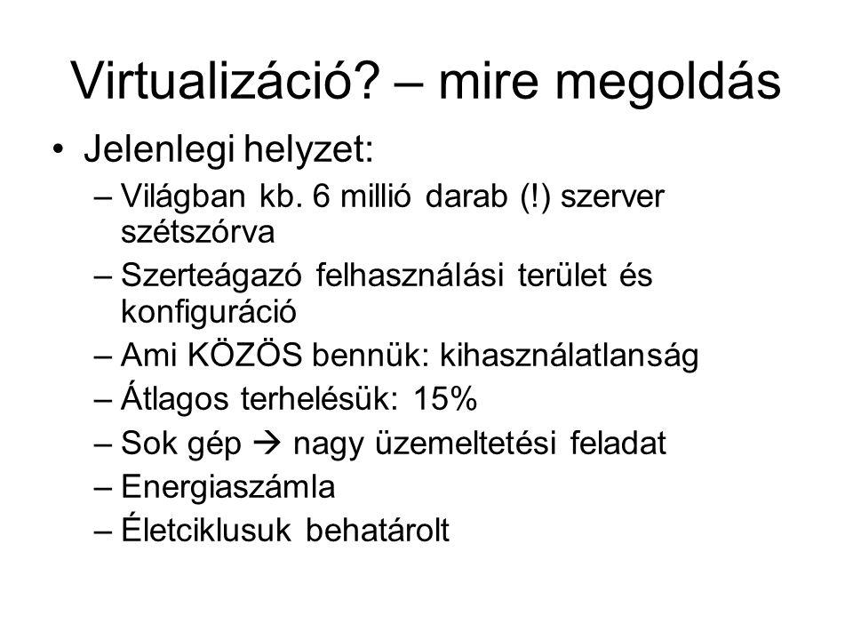 Virtualizáció. – mire megoldás Jelenlegi helyzet: –Világban kb.