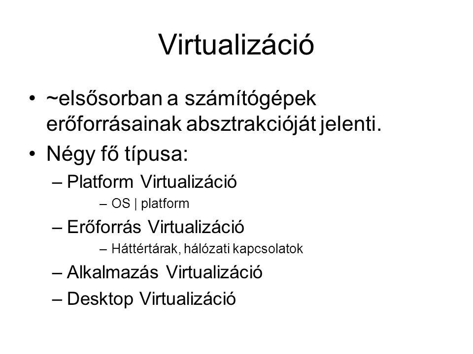 Virtualizáció ~elsősorban a számítógépek erőforrásainak absztrakcióját jelenti.