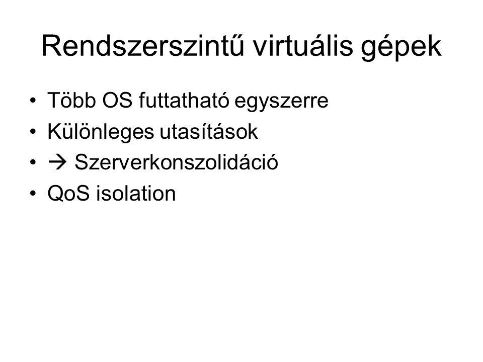 Rendszerszintű virtuális gépek Több OS futtatható egyszerre Különleges utasítások  Szerverkonszolidáció QoS isolation