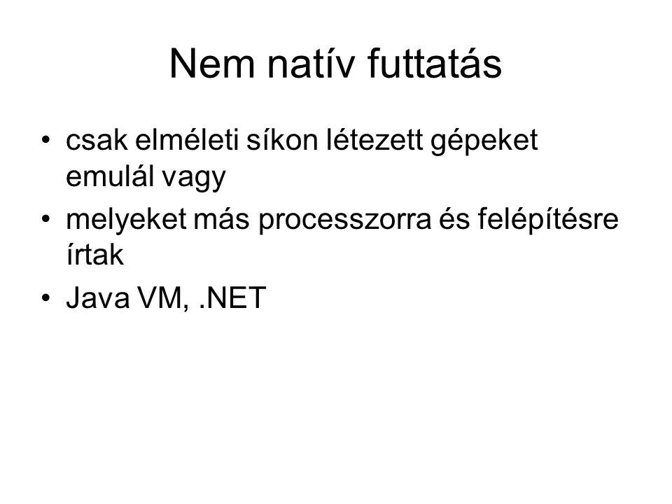 Nem natív futtatás csak elméleti síkon létezett gépeket emulál vagy melyeket más processzorra és felépítésre írtak Java VM,.NET