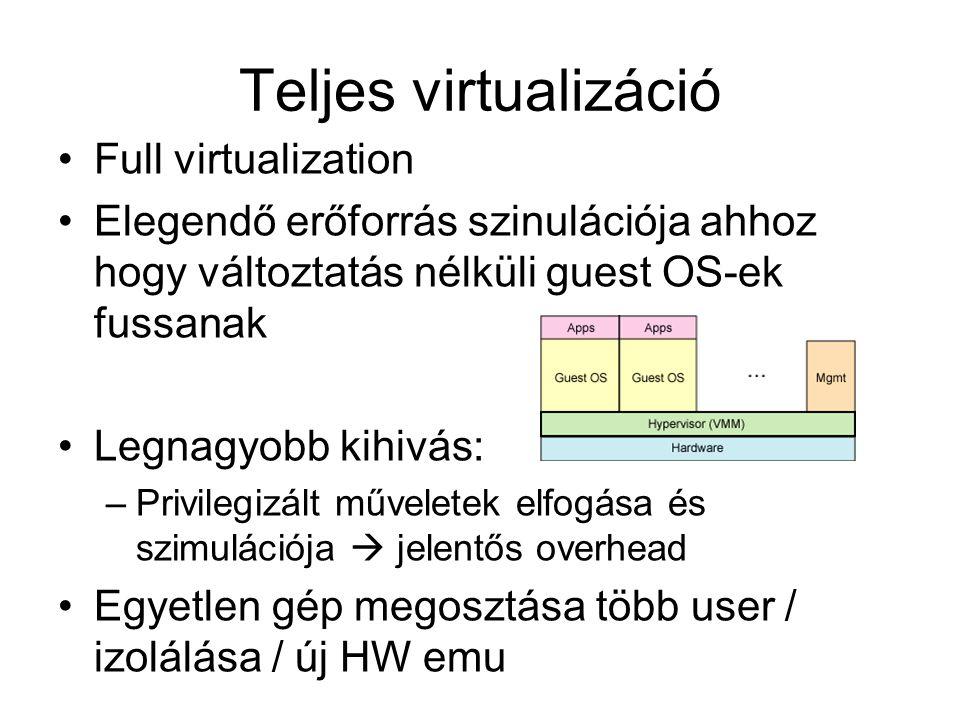 Teljes virtualizáció Full virtualization Elegendő erőforrás szinulációja ahhoz hogy változtatás nélküli guest OS-ek fussanak Legnagyobb kihivás: –Privilegizált műveletek elfogása és szimulációja  jelentős overhead Egyetlen gép megosztása több user / izolálása / új HW emu