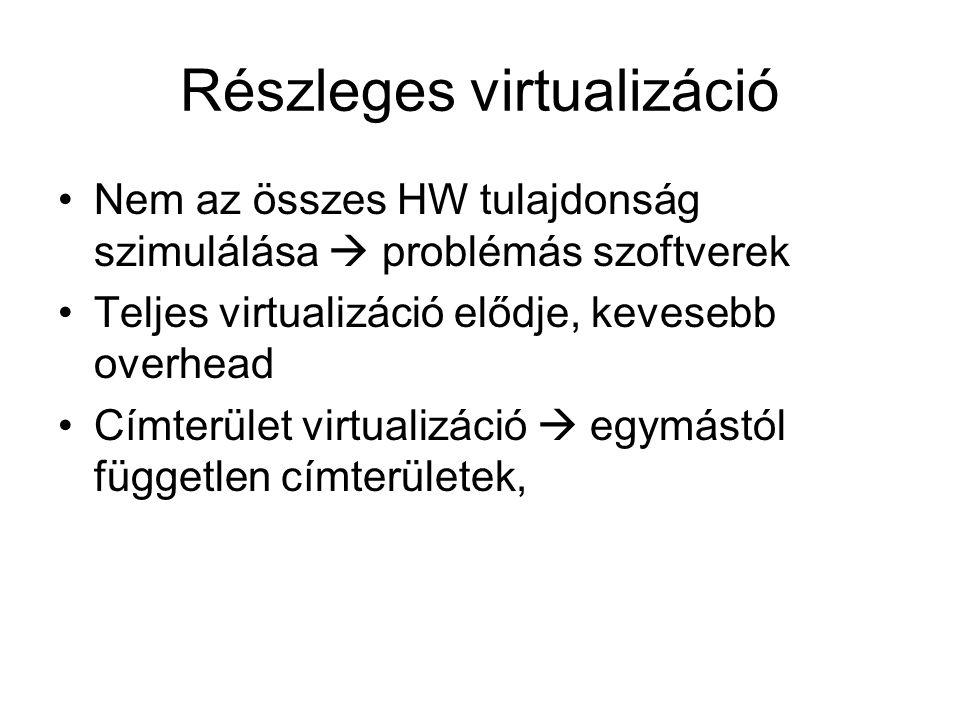 Részleges virtualizáció Nem az összes HW tulajdonság szimulálása  problémás szoftverek Teljes virtualizáció elődje, kevesebb overhead Címterület virtualizáció  egymástól független címterületek,