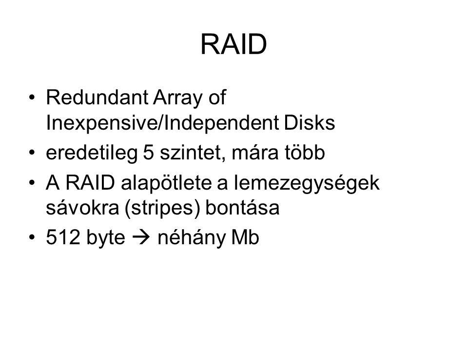 RAID Redundant Array of Inexpensive/Independent Disks eredetileg 5 szintet, mára több A RAID alapötlete a lemezegységek sávokra (stripes) bontása 512 byte  néhány Mb