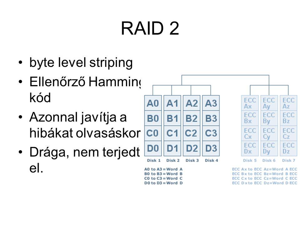 RAID 2 byte level striping Ellenőrző Hamming kód Azonnal javítja a hibákat olvasáskor Drága, nem terjedt el.