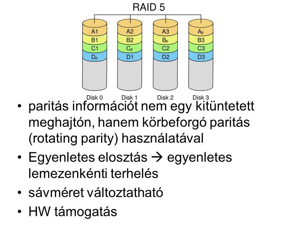 paritás információt nem egy kitüntetett meghajtón, hanem körbeforgó paritás (rotating parity) használatával Egyenletes elosztás  egyenletes lemezenkénti terhelés sávméret változtatható HW támogatás