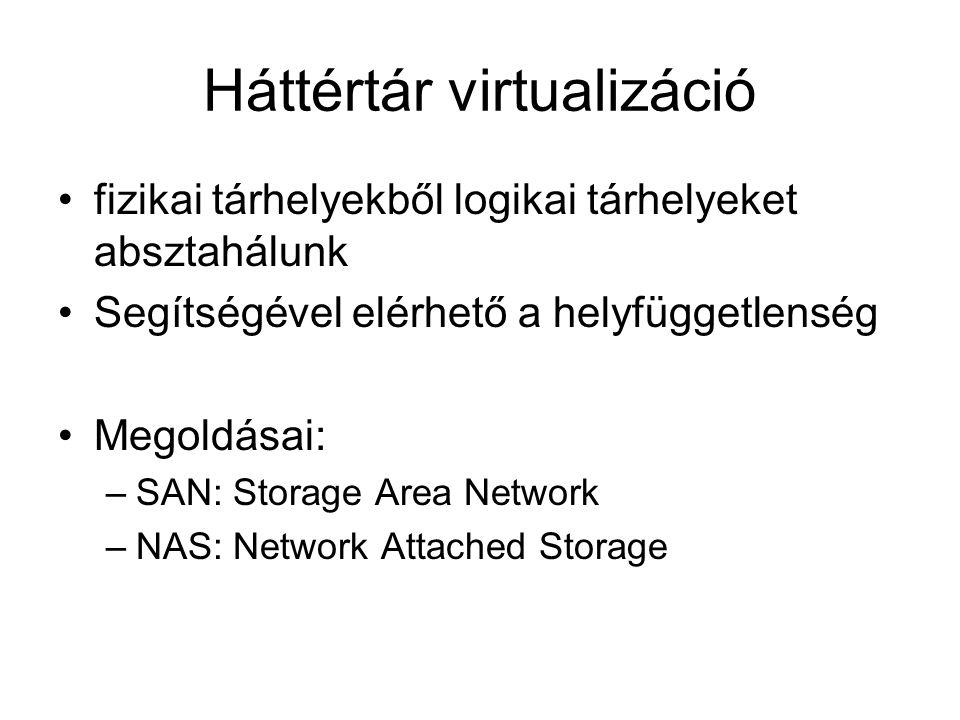Háttértár virtualizáció fizikai tárhelyekből logikai tárhelyeket absztahálunk Segítségével elérhető a helyfüggetlenség Megoldásai: –SAN: Storage Area Network –NAS: Network Attached Storage