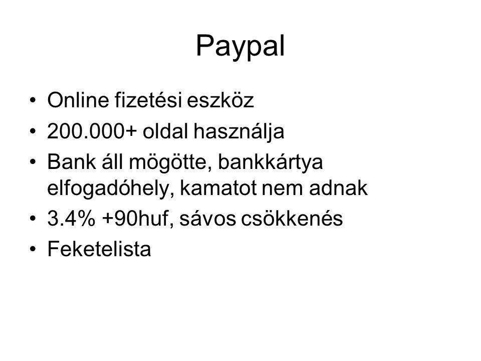 Paypal Online fizetési eszköz 200.000+ oldal használja Bank áll mögötte, bankkártya elfogadóhely, kamatot nem adnak 3.4% +90huf, sávos csökkenés Feketelista