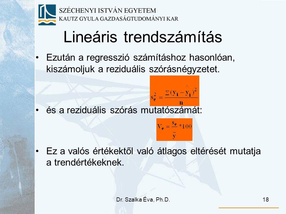 Dr. Szalka Éva, Ph.D.18 Lineáris trendszámítás Ezután a regresszió számításhoz hasonlóan, kiszámoljuk a reziduális szórásnégyzetet. és a reziduális sz