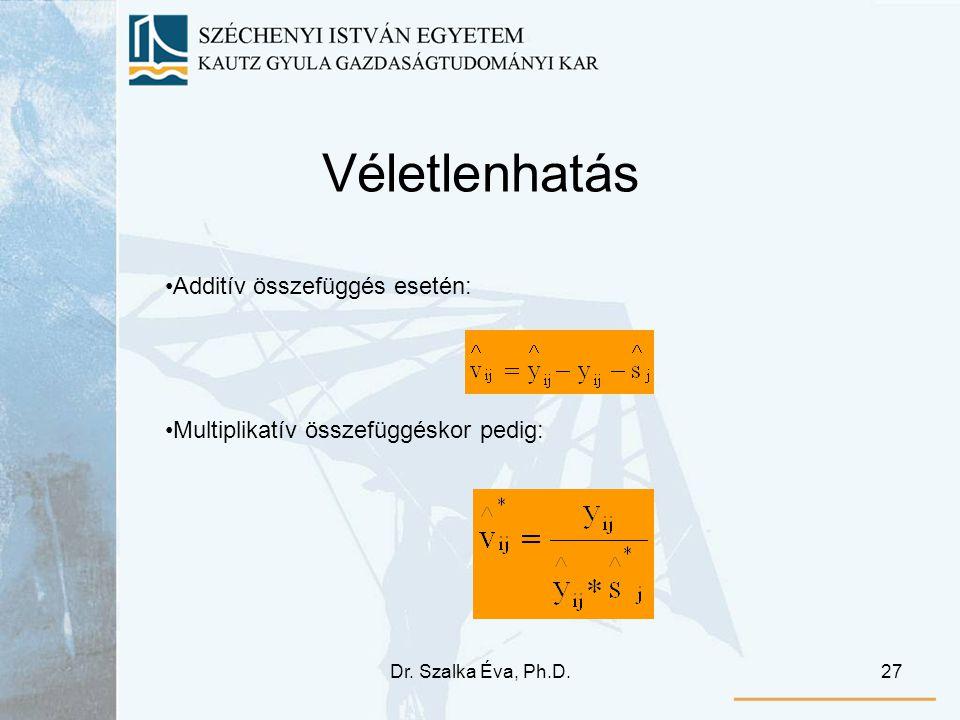Dr. Szalka Éva, Ph.D.27 Véletlenhatás Additív összefüggés esetén: Multiplikatív összefüggéskor pedig: