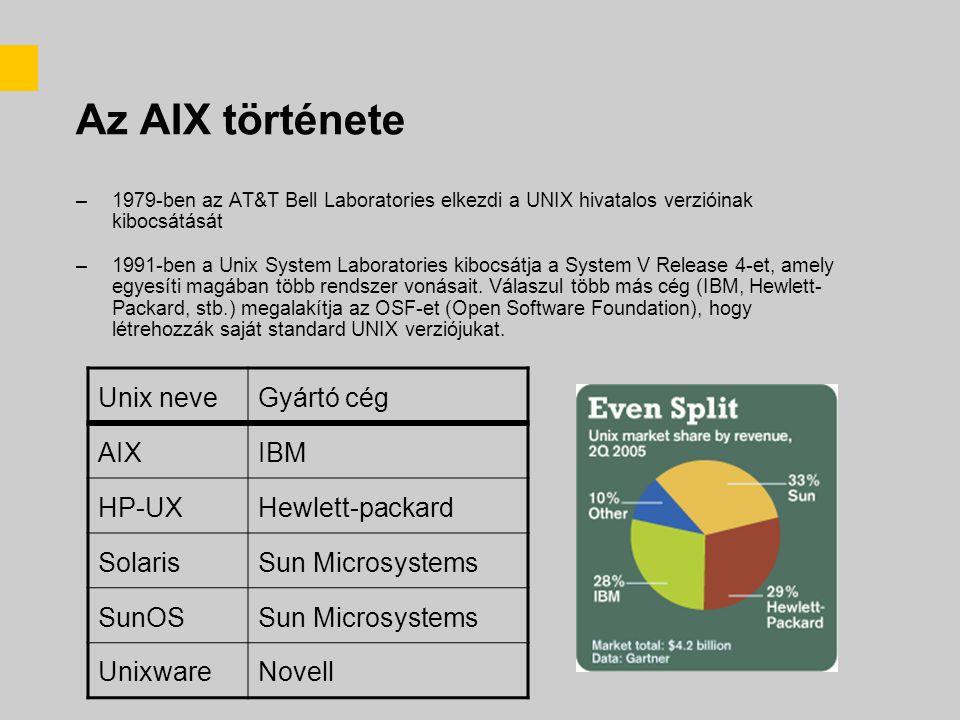 Az AIX története –1979-ben az AT&T Bell Laboratories elkezdi a UNIX hivatalos verzióinak kibocsátását –1991-ben a Unix System Laboratories kibocsátja a System V Release 4-et, amely egyesíti magában több rendszer vonásait.