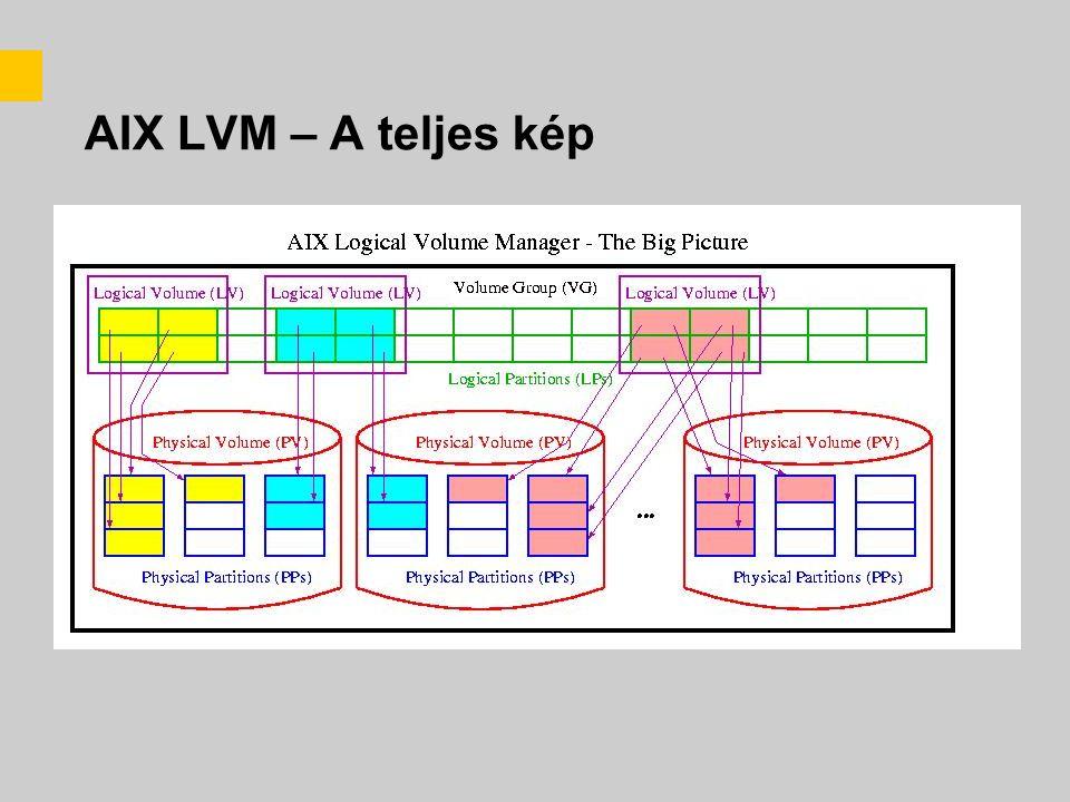 AIX LVM tulajdonságok –Előnyök: –A filerendszerek átnyúlhatnak a diszkeken, így a diszk fizikai kapacitása nem korlátozza a méretüket –Üzem közben is növelhetőek a filerendszerek (nincs off-line idő, nagyon fontos!) –Új diszkeket lehet hozzáadni a VG-khez, szintén üzem közben –Az adatok tükrőzhetők több fizikai diszkre (redundancia: 1LP -> n PP) –A VG-ket ki lehet exportálni, így az egy egységet alkotó diszkek könnyen mozgathatóak egy másik gépre –Korlátok: –Egy diszk eltávolításakor át kell rendezni az egész VG-t –Ha egy VG-ben lévő diszk tönkremegy, az az egész VG-t érinti –Filerendszer méretet nem lehet csökkenteni