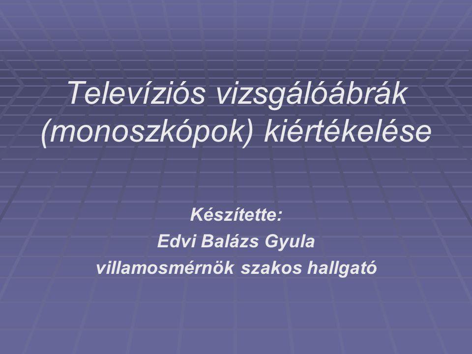 Televíziós vizsgálóábrák (monoszkópok) kiértékelése Készítette: Edvi Balázs Gyula villamosmérnök szakos hallgató