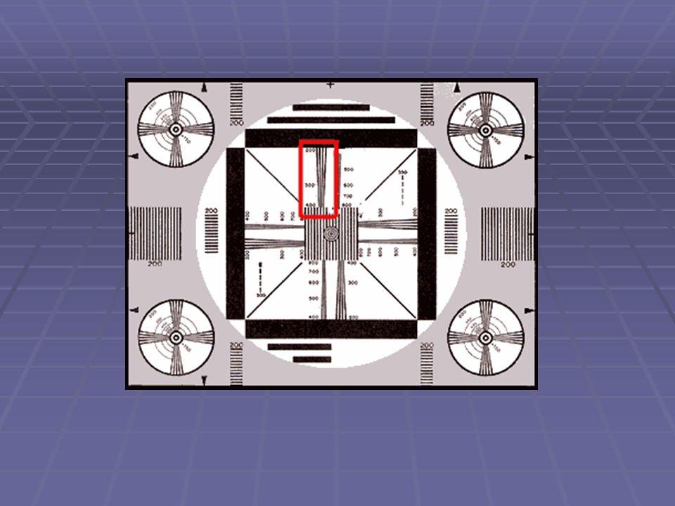  A berendezésekben végbemenő tranziens folyamatok ellenőrzése és a visszaverődő jelek felderítése céljából a központi körben fehér alapon két olyan függőleges vonalsort helyeztek el, amelyek egyenként hat-hat fekete vonásból állnak, és az egyik 50-től 300 vonásig van kalibrálva (50-100-150- 200-250-300), a másik pedig 350-től 600-ig (350-400-450-500-550-600).