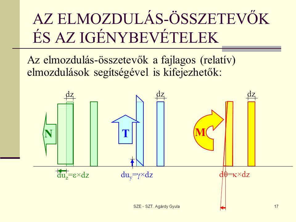 SZE - SZT. Agárdy Gyula17 AZ ELMOZDULÁS-ÖSSZETEVŐK ÉS AZ IGÉNYBEVÉTELEK Az elmozdulás-összetevők a fajlagos (relatív) elmozdulások segítségével is kif