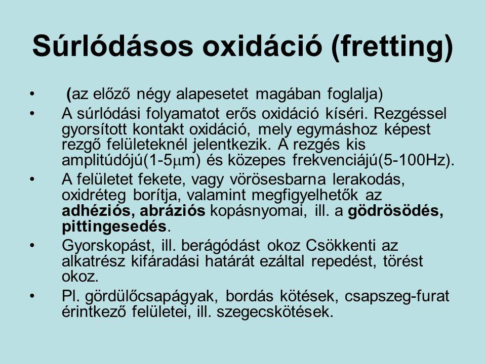 Súrlódásos oxidáció (fretting) (az előző négy alapesetet magában foglalja) A súrlódási folyamatot erős oxidáció kíséri. Rezgéssel gyorsított kontakt o
