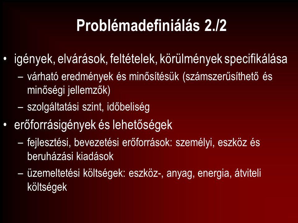 Problémadefiniálás 2./2 igények, elvárások, feltételek, körülmények specifikálása –várható eredmények és minősítésük (számszerűsíthető és minőségi jel