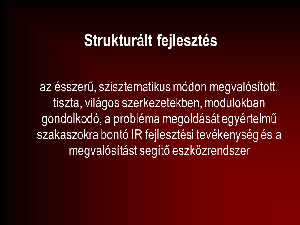 Strukturált fejlesztés az ésszerű, szisztematikus módon megvalósított, tiszta, világos szerkezetekben, modulokban gondolkodó, a probléma megoldását eg