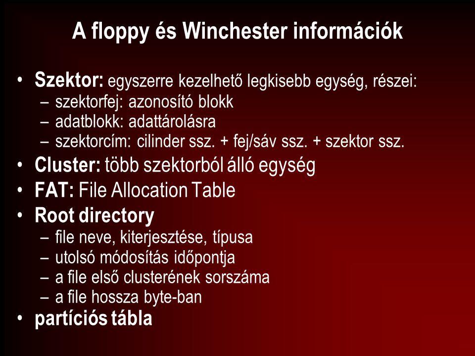 A floppy és Winchester információk Szektor: egyszerre kezelhető legkisebb egység, részei: –szektorfej: azonosító blokk –adatblokk: adattárolásra –szek