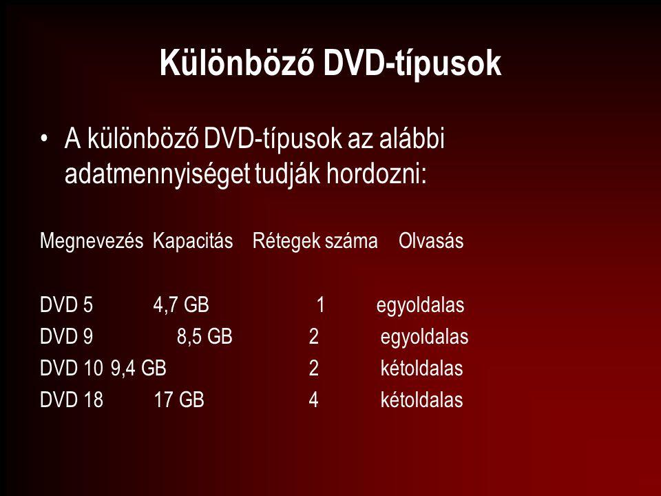 Különböző DVD-típusok A különböző DVD-típusok az alábbi adatmennyiséget tudják hordozni: Megnevezés Kapacitás Rétegek száma Olvasás DVD 5 4,7 GB 1 egy