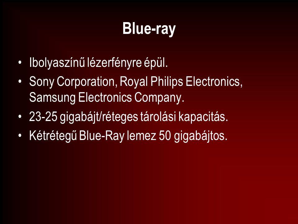 Blue-ray Ibolyaszínű lézerfényre épül. Sony Corporation, Royal Philips Electronics, Samsung Electronics Company. 23-25 gigabájt/réteges tárolási kapac