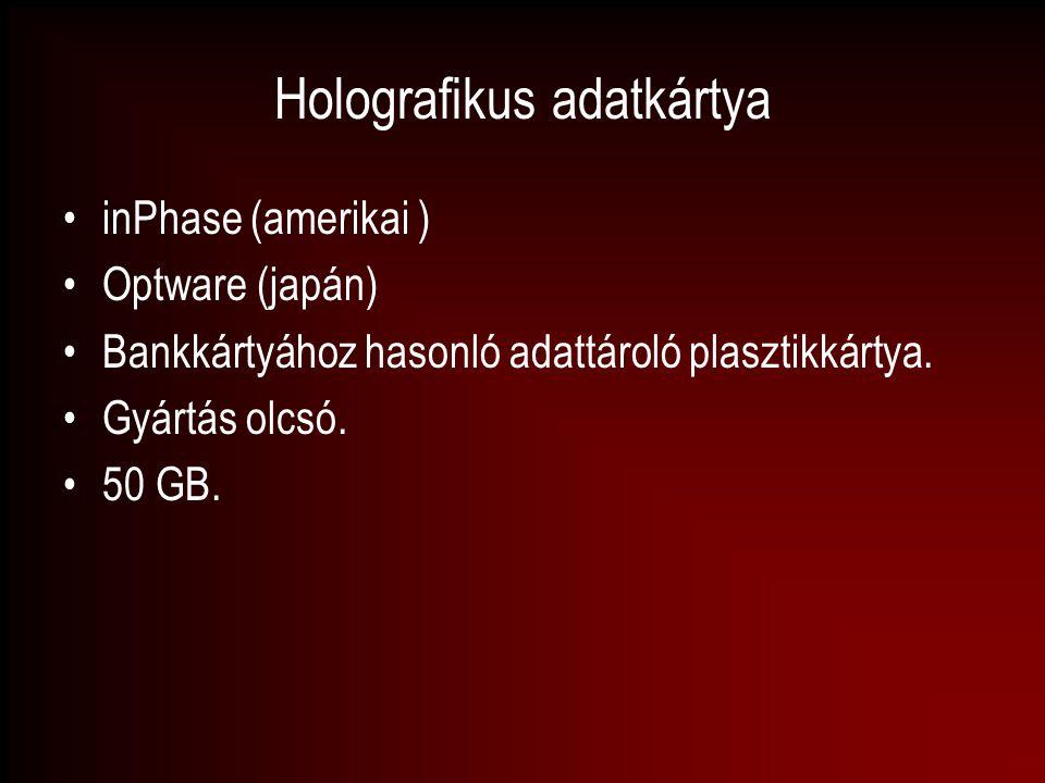 Holografikus adatkártya inPhase (amerikai ) Optware (japán) Bankkártyához hasonló adattároló plasztikkártya. Gyártás olcsó. 50 GB.