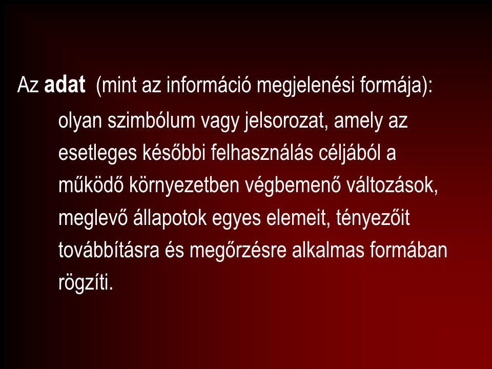 Az adat (mint az információ megjelenési formája): olyan szimbólum vagy jelsorozat, amely az esetleges későbbi felhasználás céljából a működő környezet