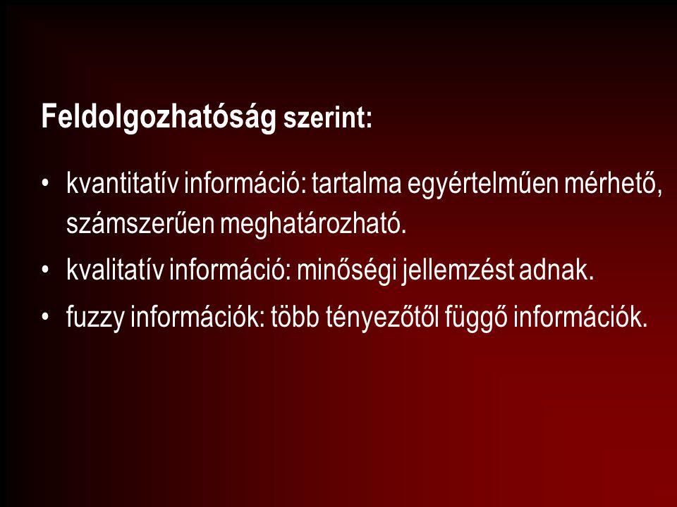 Feldolgozhatóság szerint: kvantitatív információ: tartalma egyértelműen mérhető, számszerűen meghatározható. kvalitatív információ: minőségi jellemzés