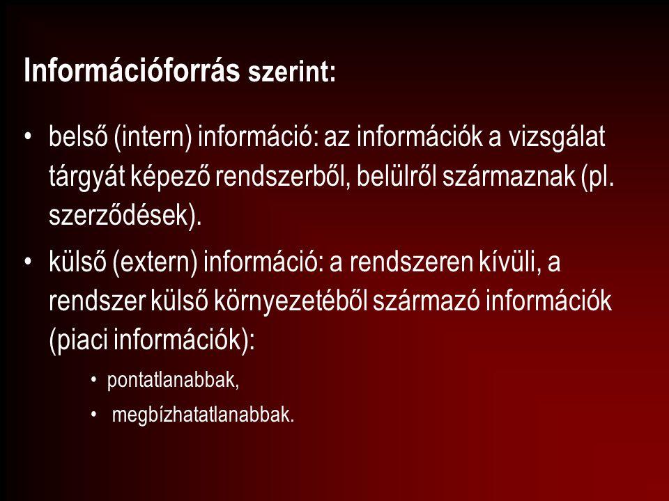 Információforrás szerint: belső (intern) információ: az információk a vizsgálat tárgyát képező rendszerből, belülről származnak (pl. szerződések). kül