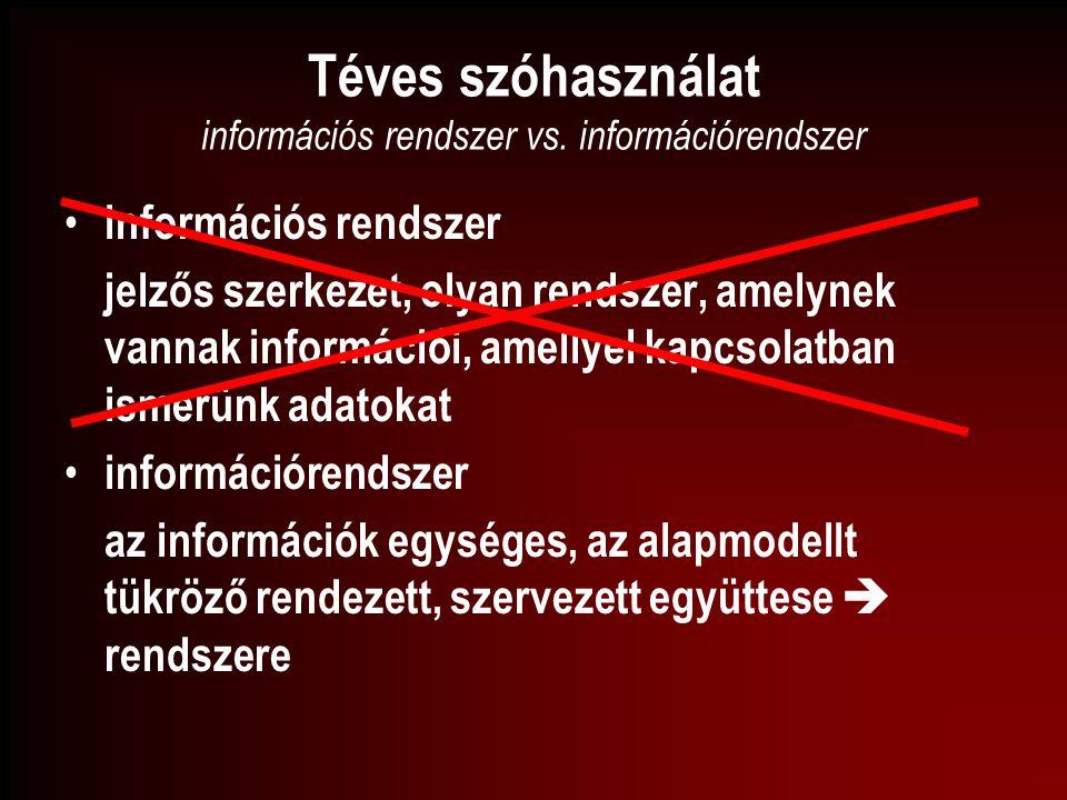 Téves szóhasználat információs rendszer vs. információrendszer információs rendszer jelzős szerkezet, olyan rendszer, amelynek vannak információi, ame