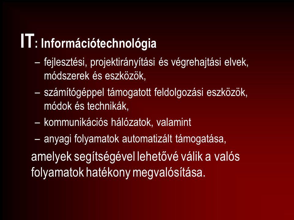 IT : Információtechnológia –fejlesztési, projektirányítási és végrehajtási elvek, módszerek és eszközök, –számítógéppel támogatott feldolgozási eszköz