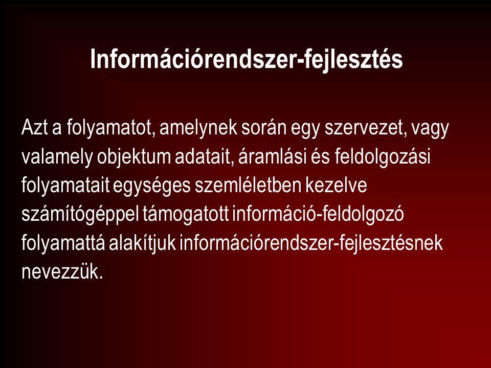 Információrendszer-fejlesztés Azt a folyamatot, amelynek során egy szervezet, vagy valamely objektum adatait, áramlási és feldolgozási folyamatait egy