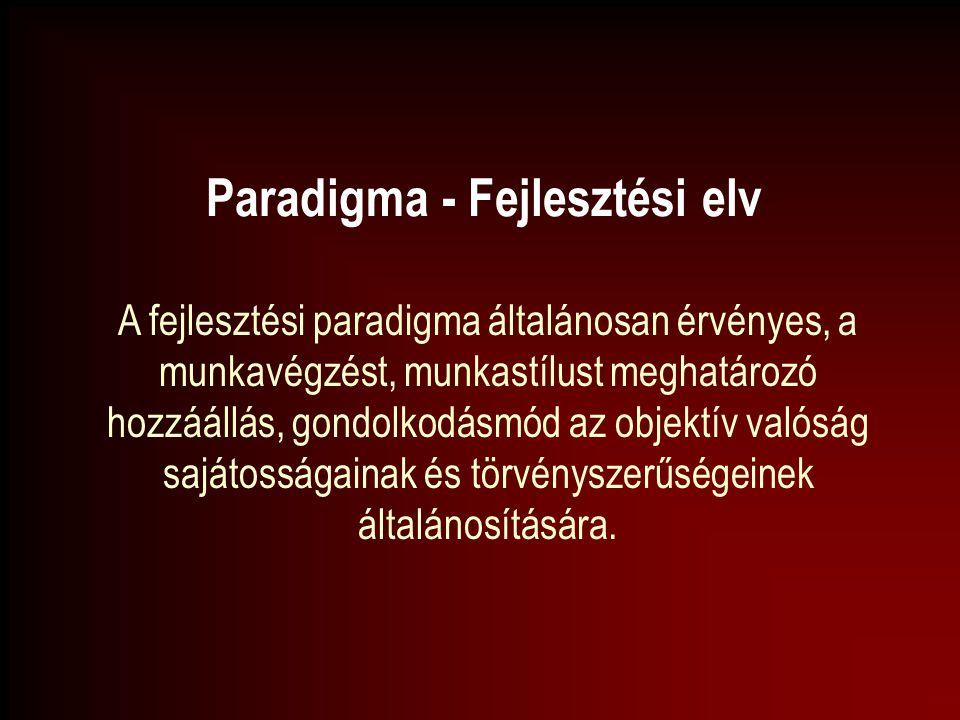 Paradigma - Fejlesztési elv A fejlesztési paradigma általánosan érvényes, a munkavégzést, munkastílust meghatározó hozzáállás, gondolkodásmód az objek