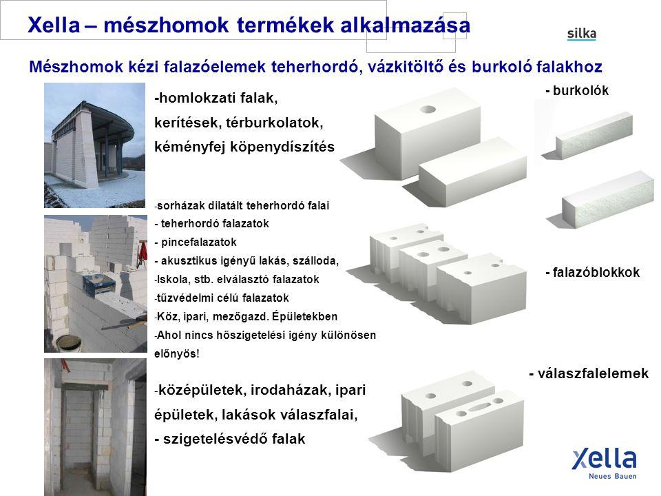 Xella – mészhomok termékek Statika TEHERHORDÓ FALAK: Ha a falazat határfeszültsége > 2,0 N / mm 2 12 cm vastag falat is lehet teherhordónak tervezni.