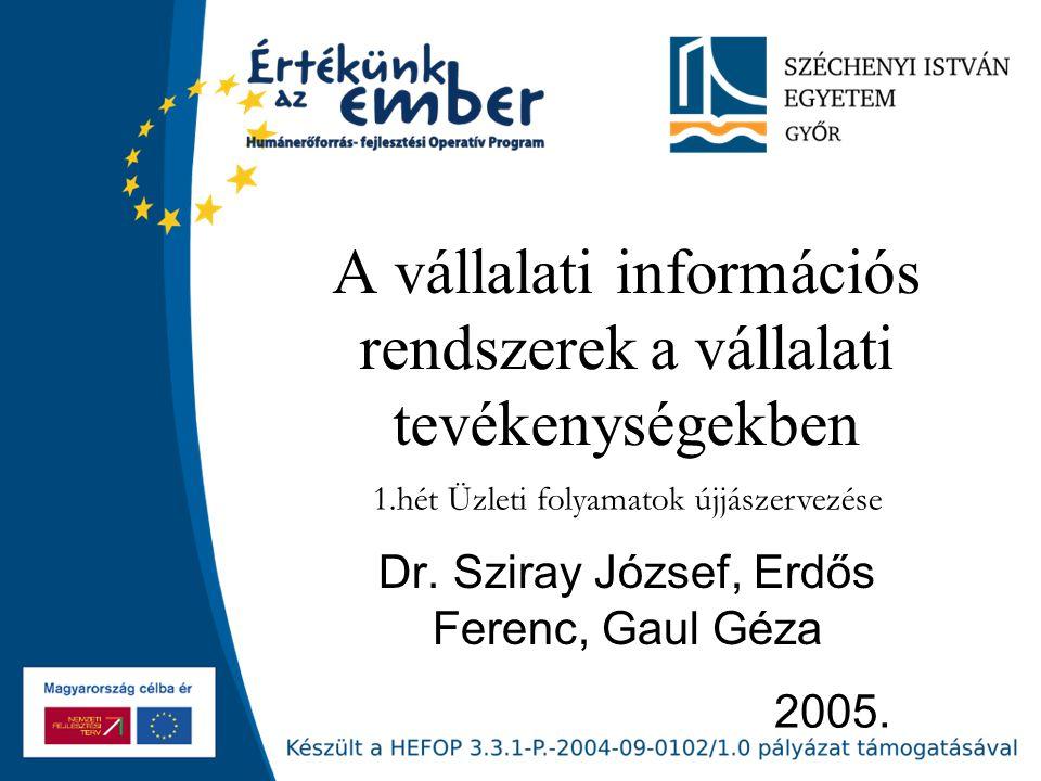 2005. A vállalati információs rendszerek a vállalati tevékenységekben Dr.