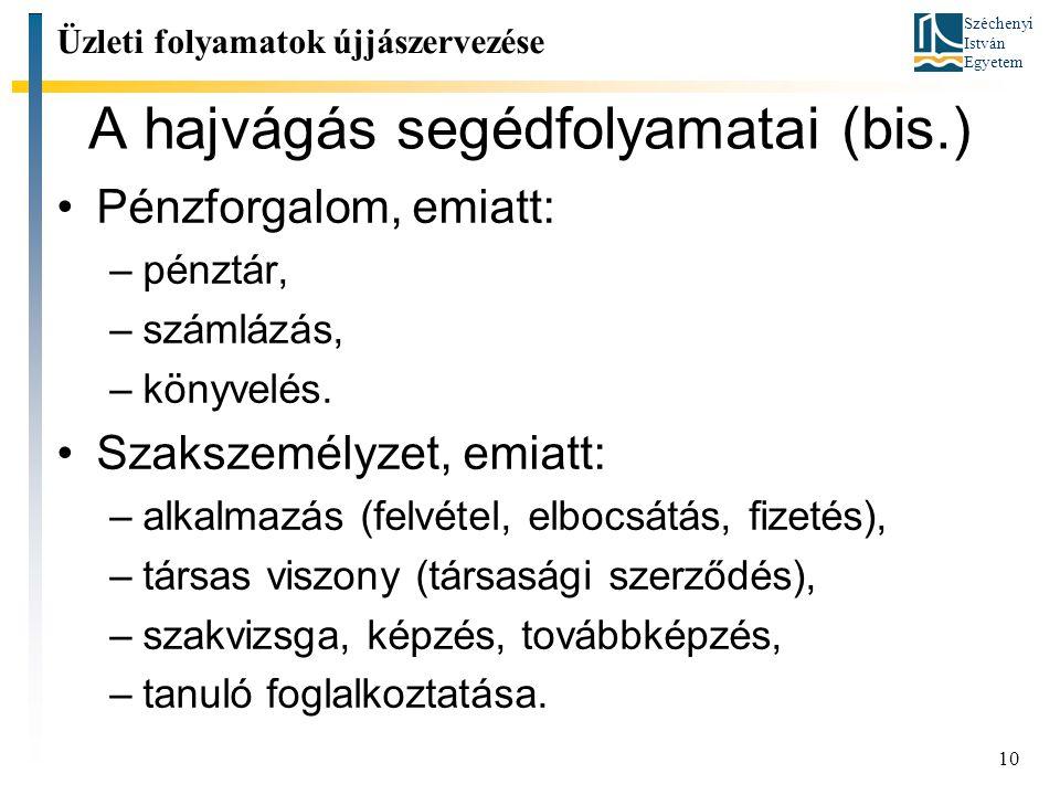 Széchenyi István Egyetem 10 A hajvágás segédfolyamatai (bis.) Pénzforgalom, emiatt: –pénztár, –számlázás, –könyvelés.