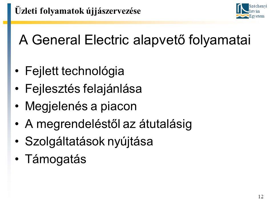 Széchenyi István Egyetem 12 A General Electric alapvető folyamatai Fejlett technológia Fejlesztés felajánlása Megjelenés a piacon A megrendeléstől az átutalásig Szolgáltatások nyújtása Támogatás Üzleti folyamatok újjászervezése